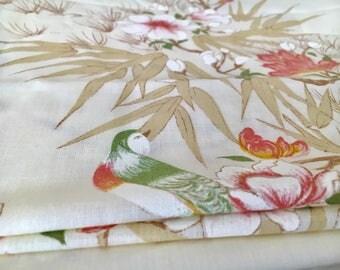 Vintage sheet single bed honey eater bird print