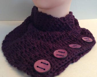 Purple Scarf, Bamboo Scarf, Crochet Cowl, Scarf with Buttons, Circle Scarf, Women's Accessories, Handmade Gifts, Women's Scarf, Gift for Her