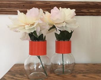 Vintage Mod Orange Glass Vases
