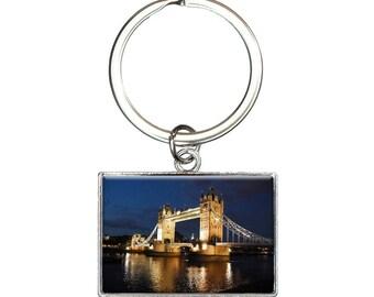 Tower Bridge London Night Rectangle Keychain Key Ring