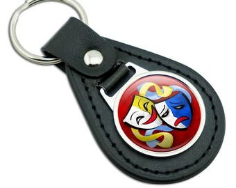 Theatre Drama Masks Black Leather Metal Keychain Key Ring