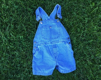 Vintage 80's kids denim overall shorts size 3t - 4t