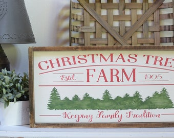 Christmas Tree Wood Framed Sign