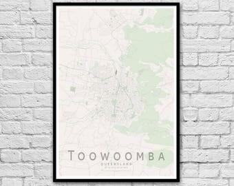 Toowoomba QLD City Street Map Print | Wall Art Poster | Wall decor | A3 A2