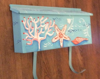 Hand painted Beach surfer wall mount mailbox Personalized custom  painted turquoise blue aqua ocean waves magazine hooks