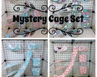 Mystery 11 Piece Sugar Glider Cage set/Rat Cage set Safe Seam Tunnels, Hammocks, Vine, Pouches, etc. (Cage Hooks Included)