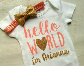 Newborn Baby Girl Hello World Coral Gold Glitter Homecoming Hospital Bodysuit Headband