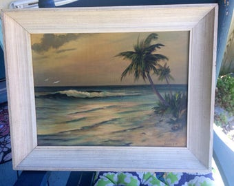 1957 Hollywood Hasselbar Seascape Delray Beach Florida Oil Painting