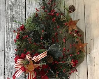 Handmade Weathered Wood and Christmas Wreath