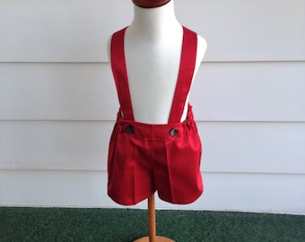 Boys red shorts, boys suspender shorts, ring bearer shorts, available to order 12 mo, 18 mo, 2t, 3t, 4t, 5t ,6