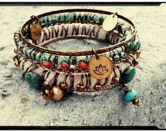 Sari Silk Wrapped Bangle Set//Turquoise/Cream/Gold/Bronze - Czech Beads//Stamped Charms - Feather/Lotus/Paisley - Bohemian/Gypsy/Hippie