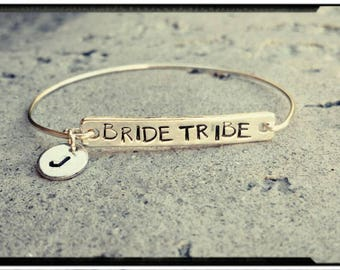 Bride Tribe - Gold or Silver - Bridesmaid Bracelets - Choose Your Design - Chain/Wire Band - Add Initial Charms - Wedding Gifts/Bridal Party