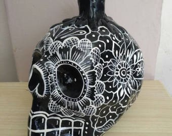 Mexican skull of large paper mache, candlestick or candle holder day of the dead