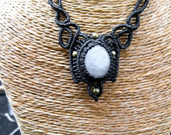 Macrame necklace black white Labradorite, blue Moonstone.