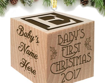 Christmas Block 2017 Personalized Baby Block Custom Engraved Wooden Baby Block for Newborn Infant Boys and Girls 2016 2018