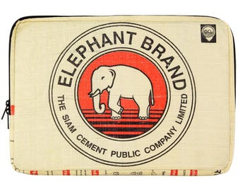 Upcycling 15-inch laptop sleeve laptop bag notebook case from cement and rice sack (motive: elephant red Beige)