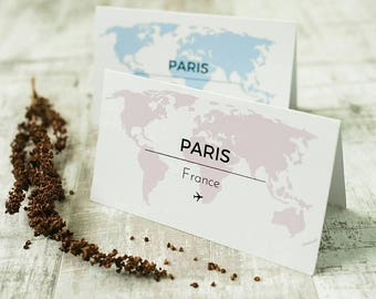 Travel themed wedding table name cards