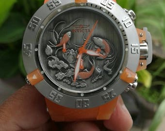 Invicta Men's 50mm Subaqua Noma III Koi Fish Quartz Chronograph Silicone Strap Watch #64
