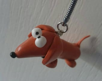key ring with polymer clay dog Hot dog
