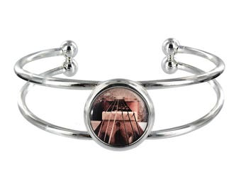 Guitar String Design On Silver Plated Bangle in Organza Gift Bag