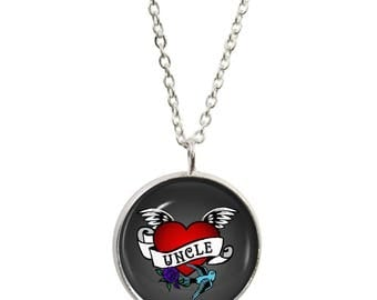 Uncle Tattoo Pendant and Silver Plated Necklace