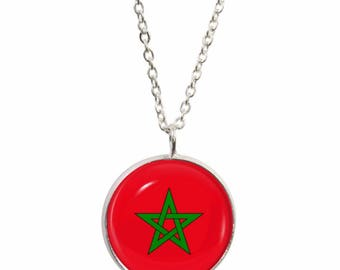 Morocco Pendant and Silver Plated Necklace