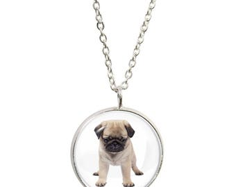 Pug Puppy Image On Pendant and Silver Plated Necklace