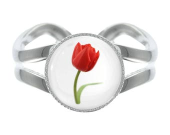 CB Red Tulip Design Silver Plated Adjustable Ring