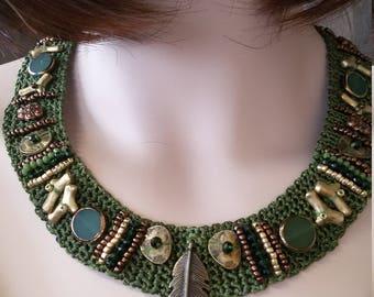 Avocado green crochet necklace...