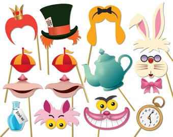 Alice in wonderland party photo booth props set - Printable PDF. Mad Hatters Tea Party Photobooth. Instant digital download - 0174