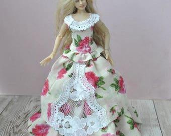 Handmade miniature Victorian gown wearable for Zjakazumi dolls,Heidi Ott 1 inch scale doll