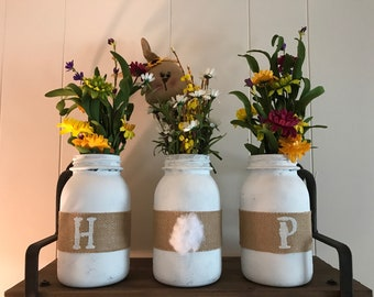 Hop Mason Jars (flowers are for display only, not included)