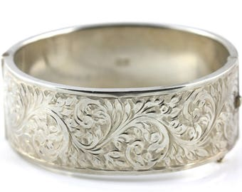 Victorian Revival Sterling Silver Bangle - 1955