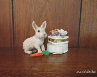 Needle Felted Rabbit, Bunny Decoration, Bunnie figurine, Easter Bunny-READY TO SHIP! Miniature Posable Animal sculpture-Needle Felted Animal