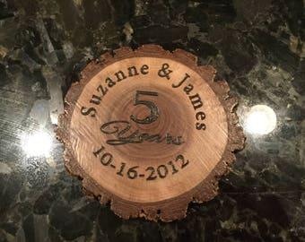 2 Personalized 5 year Anniversary wood gift, Custom anniversary gift, 5 Year Anniversary Wood Gift, Anniversary gift