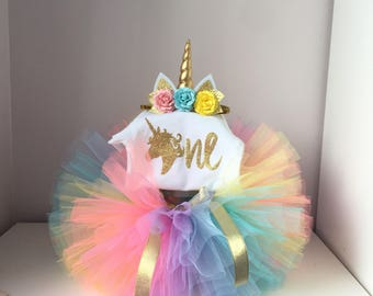 Unicorn birthday outfit .Rainbow  unicorn outfit