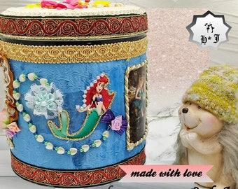 Stash box. Little mermaid. Gnomes. Trinket box. Playroom toy box. Storage bin. Fantasy kingdom. Girls birthday gift. Girl bedroom decor.