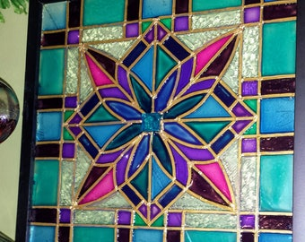 Square 12x12 Framed Faux Stained Glass Window Panel Made To Order Vintage