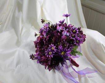 Purple Ranunculus and Mums Wedding Bouquet, Hydrangea, Ranunculus Chrysanthemums Brides Bouquet, Purple Bridal Bouquet