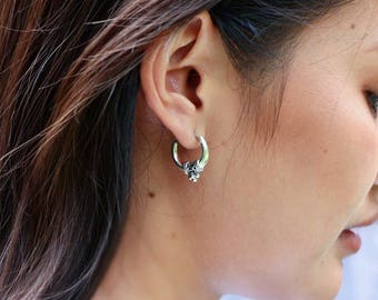 Silver Tribal Ear Hoops, 16mm Silver Hoops,Gift Hoops,Sterling Silver Hoops, Piercing Hoops, Silver Earrings, Bali Hoops (E118)