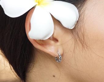 Real Silver Hoops, 12mm Earrings, Bali Loops, Oxidized Silver Hoop, Ethnic Earrings, Minimalist , Everyday Hoops, Piercing Hoops, (E37)
