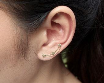 Gold Plated Ear Creeper, Star Ear Creeper, Minimalist Earrings, Bohemian Ear Crawler, Brides Accessories, Gifting Jewelry,(E 76)
