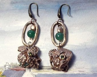 Earrings, handmade bronze pieces, vegetal/art-nouveau style(leaves & flowers),Aventurin and bronze beads, aventurin flower, made in France