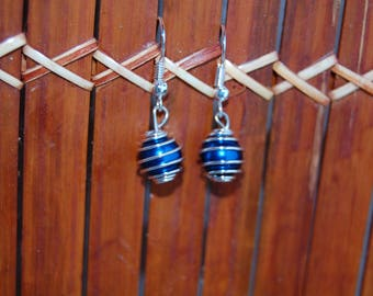 birdcage, pearly blue beads earrings