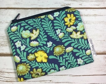 Coin pouch, change purse, Tula Pink Eden Fabric, blue floral, green vine fabric, card wallet, ID wallet, small zipper pouch