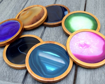Agate Coasters // Geode Coasters // Crystal Coasters // Boho Decor // Agate Slice Coaster // Pink, Black, Natural, Teal, Purple, Blue, Green