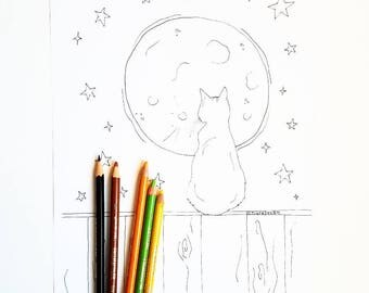 Halloween Coloring Page - Full Moon Coloring Page - Halloween Cat Coloring Page - Adult Coloring Book Page - Cat Coloring Page - Craft Page