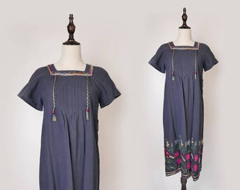 Navy Women Maxi Dress Colourful Floral Embroider 1980s Square Collar Short Sleeves Size M