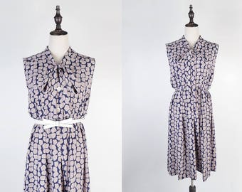 Purple Lump Print Ascot Collar Sleeveless Navy Vintage Pleated Dress Size M