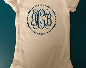 Baby initial onesie, new baby onesies, baby onesies